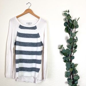 LOFT Knit Long Sweater Striped Gray White L
